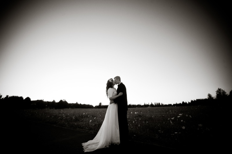 backyard wedding bride and groom in open field