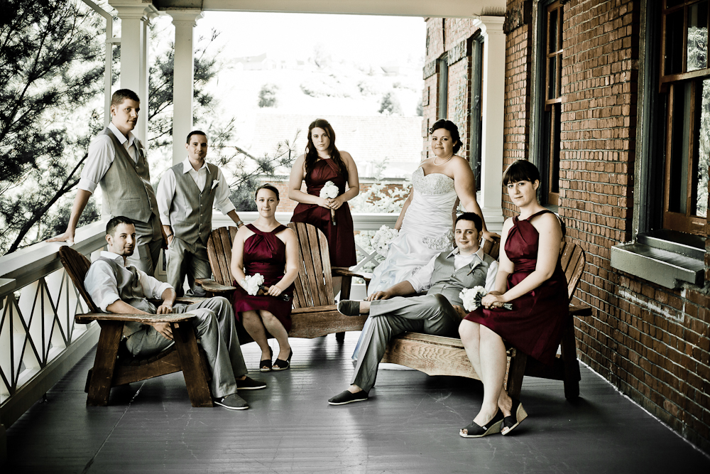 wedding party photograph spaced out in a modern way