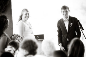 smiling during the ceremony