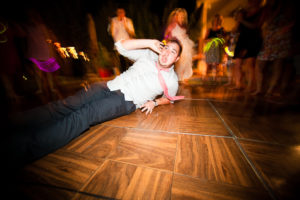 break dancing at the wedding