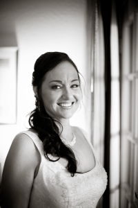 portrait of the bride while getting ready