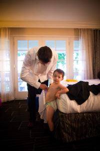 the ring bearer getting ready