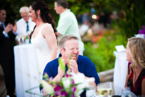 guest laughing at the wedding