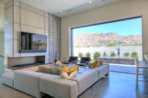 family room with view of mountains