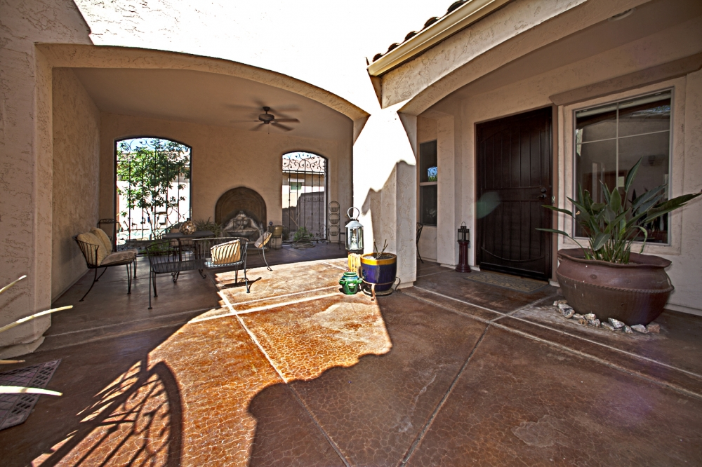 private patio at the front of the house
