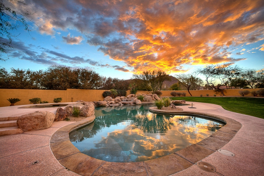 The Pool At Sunset Interior Design Photographer Phoenix Twilight Commercial Photography Residential Real Estate